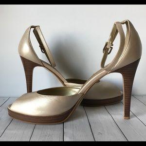 Nine West Cream Blush Peep Toe Heels Sandal Pumps